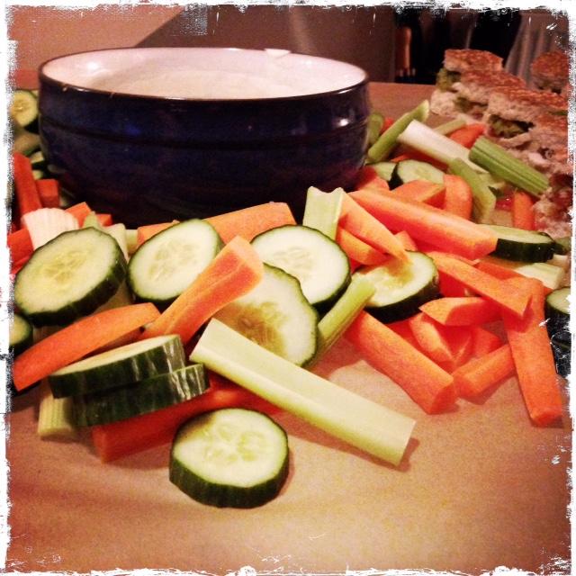 mint yogurt & veggies